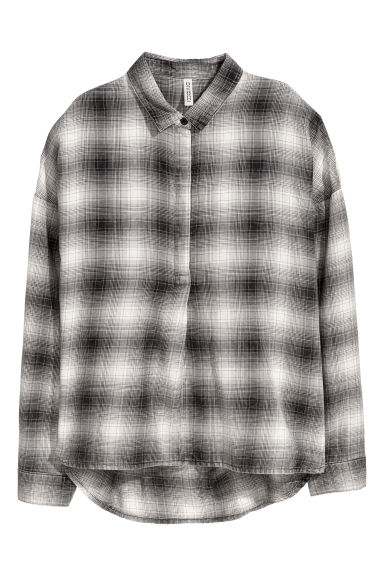 Wide shirt - Black/White checked -  | H&M IE
