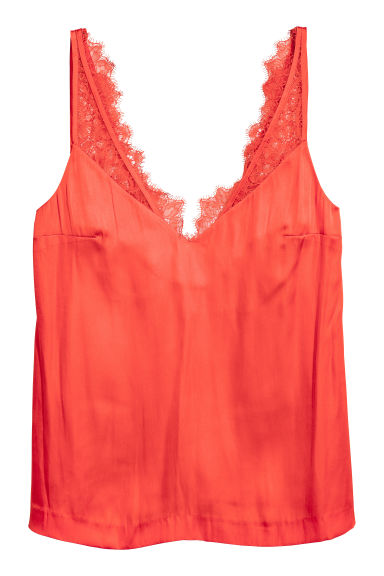 Satin top with lace - Neon orange - Ladies | H&M