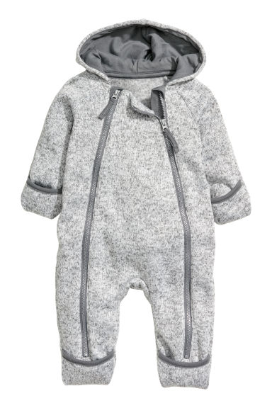 Knitted fleece all-in-one suit - Light grey marl - Kids | H&M CN