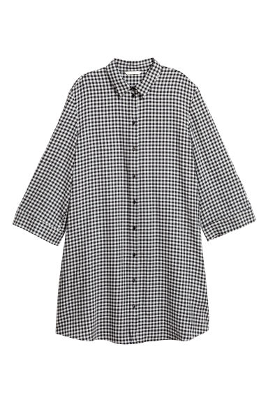 Patterned dress - Black/White checked -  | H&M
