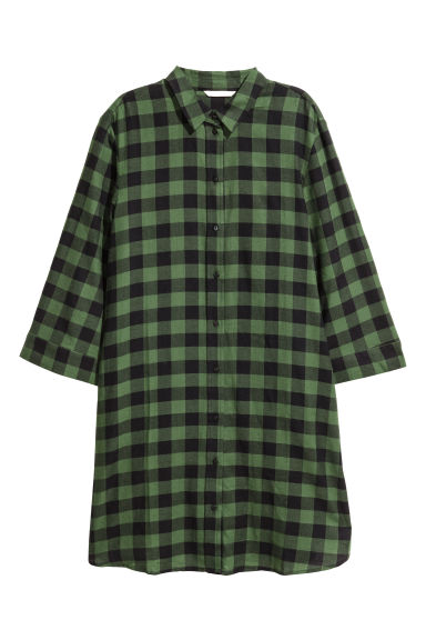 Patterned dress - Green/Black checked - Ladies | H&M IE