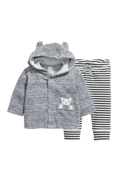 Hooded top and trousers - Grey -  | H&M CN