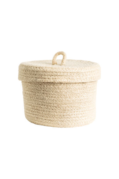 Liten ask i flätat jute - Naturvit - Home All | H&M FI