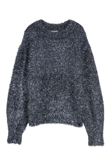 Knitted jumper - Dark blue/Glitter -  | H&M