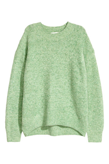 Textured-knit jumper - Light green marl - Ladies | H&M IE
