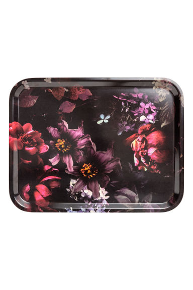 Patterned tray - Black/Floral -  | H&M GB