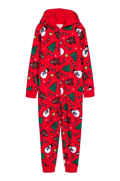 Sweatshirt all-in-one suit - Bright red/Snowmen - Kids | H&M CN