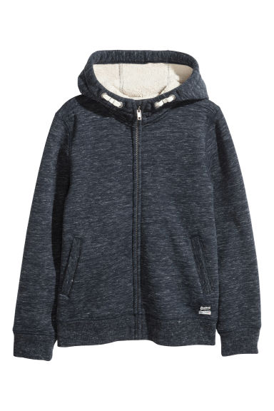 Sweat-shirt à capuche - Bleu foncé chiné -  | H&M BE