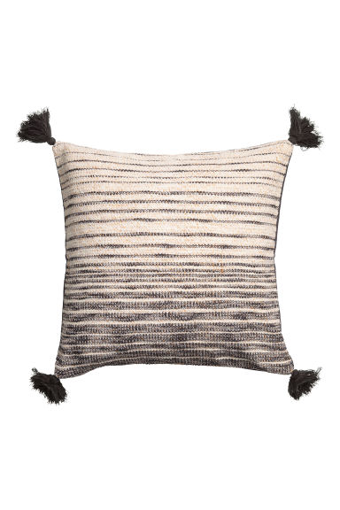 Tasselled cushion cover - Anthracite grey/White -  | H&M IE