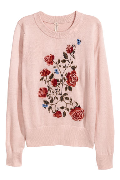 Fine-knit embroidered jumper - Powder pink - Ladies | H&M