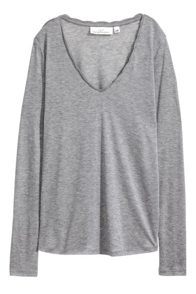 V-neck lyocell top - Grey - Ladies | H&M