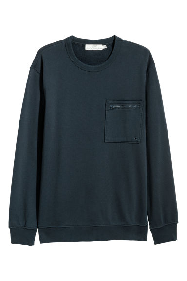 Sweatshirt with a chest pocket - Dark blue -  | H&M