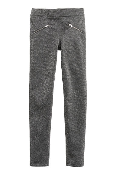 Leggings - Dark grey/Glittery -  | H&M CN