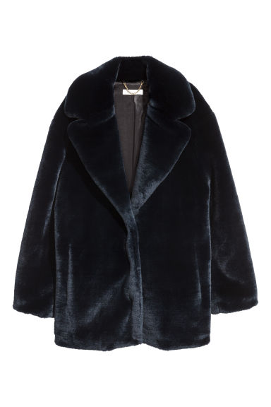 Faux fur jacket - Dark blue -  | H&M
