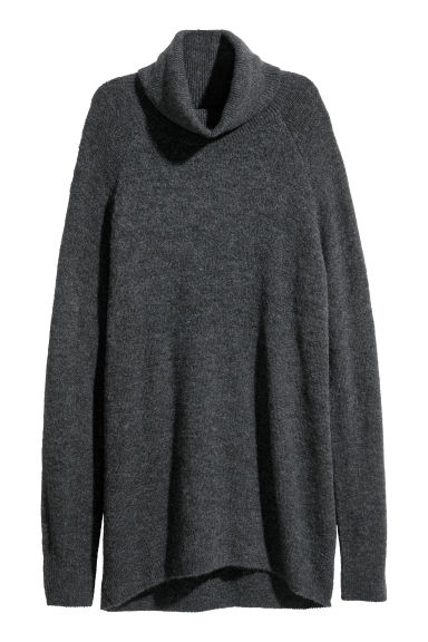 Knitted polo-neck jumper - Dark grey - Ladies | H&M CN