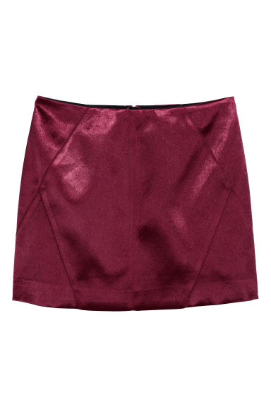 Short skirt - Burgundy/Satin - Ladies | H&M
