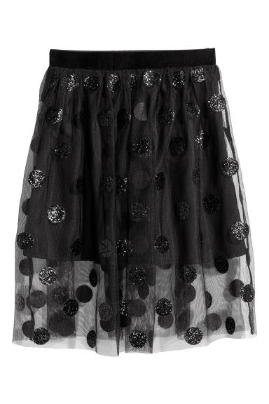 Tulle skirt with sequins - Black/Spotted -  | H&M CN