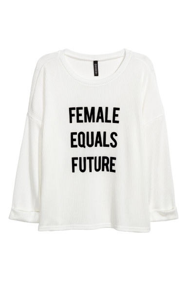Ribgebreide trui - Wit - DAMES | H&M BE