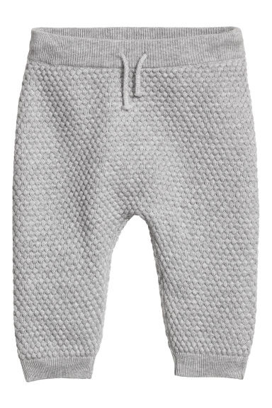 Textured-knit trousers - Grey marl -  | H&M