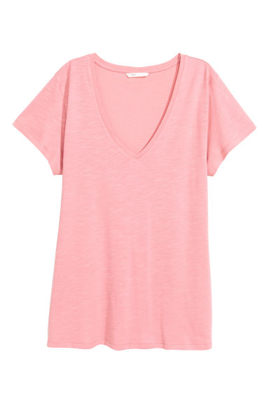 Slub jersey V-neck top - Pink - Ladies | H&M