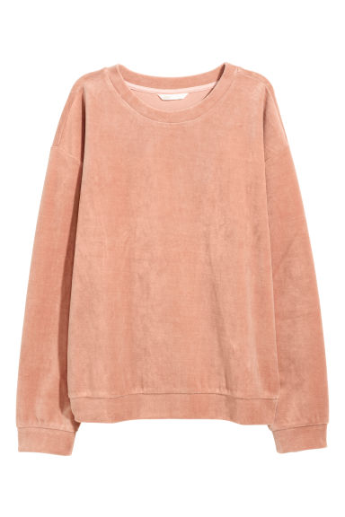 Velour sweatshirt - Dark powder pink - Ladies | H&M
