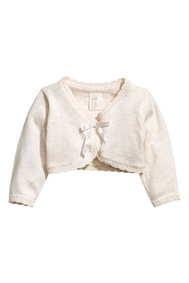 Fine-knit bolero - Light beige marl -  | H&M GB