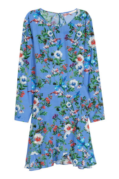 Patterned dress - Blue/Floral - Ladies | H&M CN