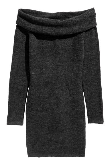 Off-the-shoulder dress - Dark grey - Ladies | H&M CN