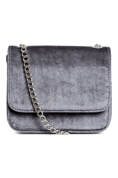Velvet shoulder bag - Dark grey - Ladies | H&M GB