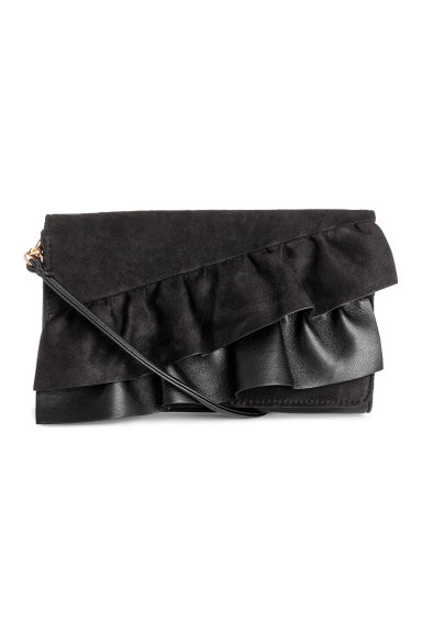 Clutch bag with frills - Black -  | H&M CN