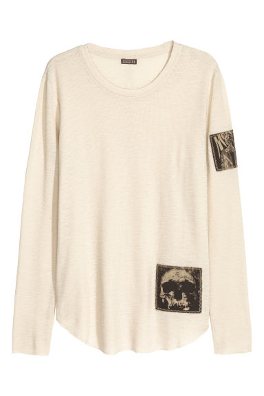 Shirt met applicaties - Lichtcrème - HEREN | H&M BE