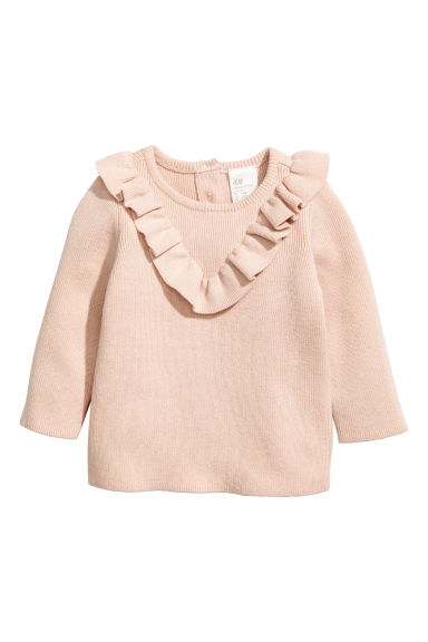 Cotton jumper with a frill - Light beige -  | H&M CN