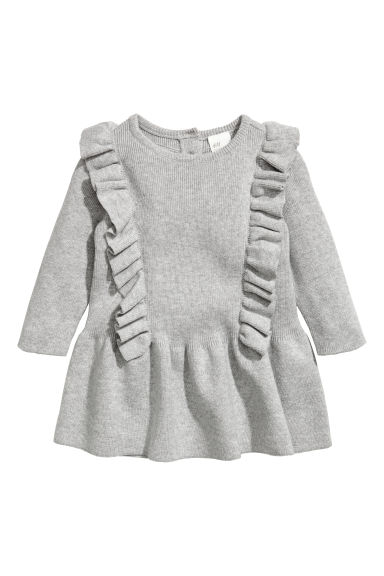 Cotton dress with frills - Grey marl -  | H&M CN