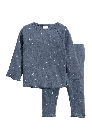 Cotton top and trousers - Pigeon blue/Moons - Kids | H&M CN