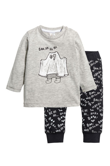 Printed top and trousers - Grey marl/Ghost - Kids | H&M CN