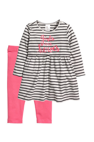 Jersey dress and leggings - Pink/Grey striped -  | H&M GB