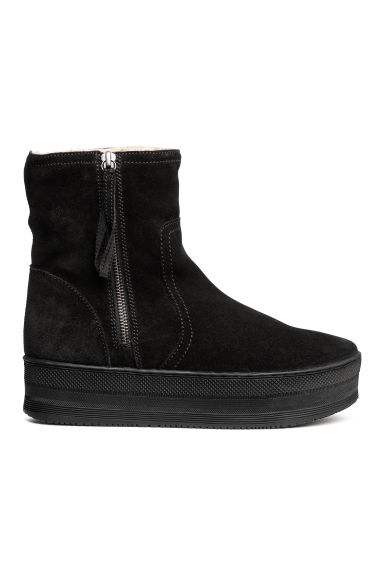 Suede platform boots - Black - Ladies | H&M