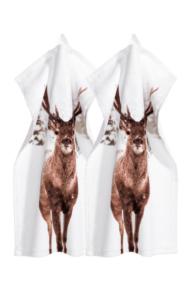 2-pack guest towels - White/Deer -  | H&M GB