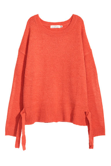 Knitted jumper with ties - Orange -  | H&M