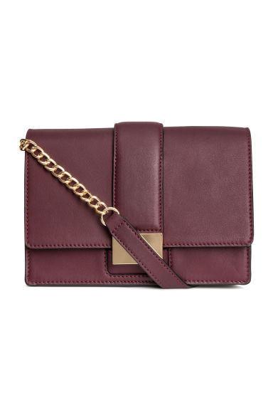 Leather shoulder bag - Burgundy - Ladies | H&M