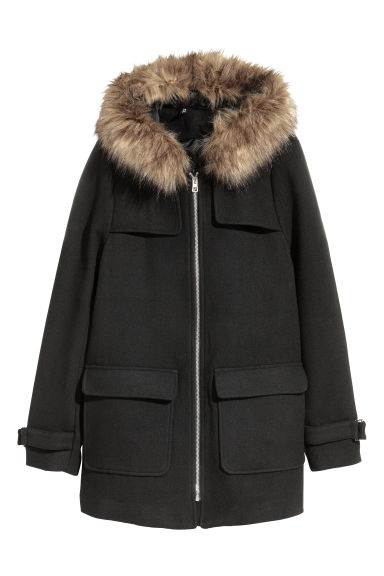 Wool-blend duffle coat - Black -  | H&M GB