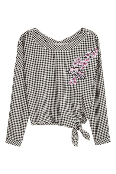 Tie-front blouse - Black/White checked - Kids | H&M GB