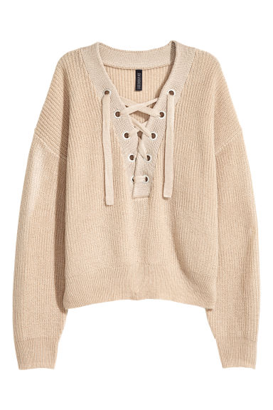 Knitted jumper with lacing - Light beige - Ladies | H&M CN