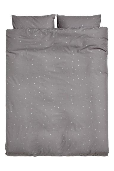Star Print Duvet Cover Set Grey Stars Home All H M Gb