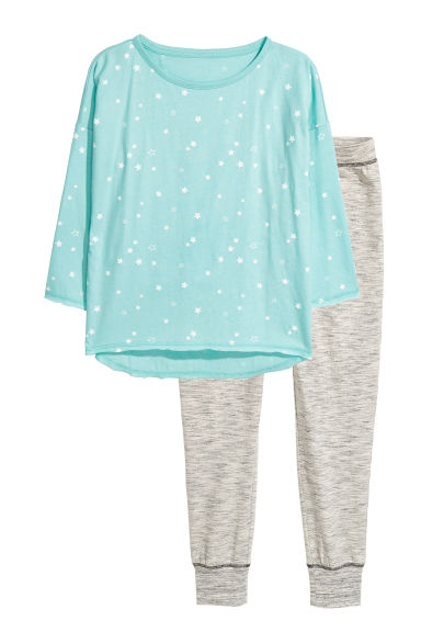 Pigiama in jersey - Turchese/stelle -  | H&M IT