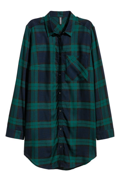Long viscose shirt - Dark blue/Green checked -  | H&M