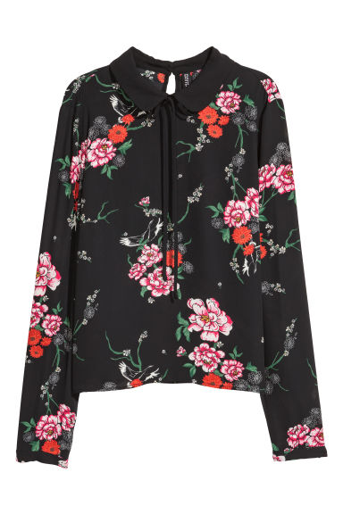 Patterned chiffon blouse - Black/Floral - Ladies | H&M CN