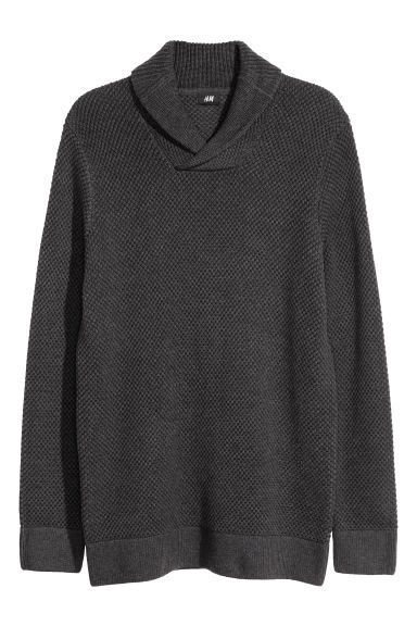 Shawl-collar jumper - Dark grey -  | H&M
