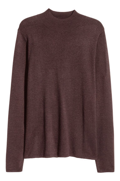 Fine-knit turtleneck jumper - Dark brown -  | H&M