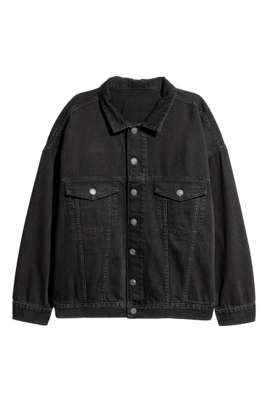 Oversized denim jacket - Black - Ladies | H&M